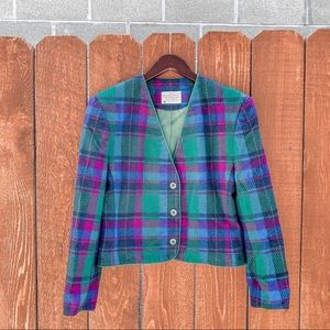 Pendelton Miss Colorful Plaid Blazer